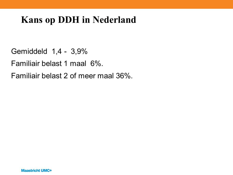 Kans op DDH in Nederland Gemiddeld 1,4 - 3,9% Familiair belast 1 maal 6%.