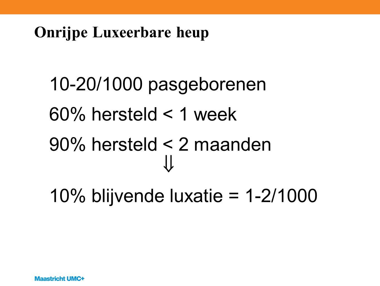 Onrijpe Luxeerbare heup 10-20/1000 pasgeborenen 60% hersteld < 1 week 90% hersteld < 2 maanden  10% blijvende luxatie = 1-2/1000