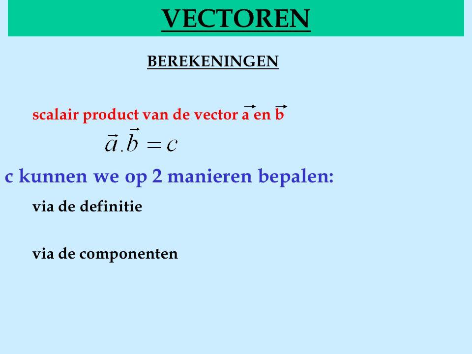 BEREKENINGENscalair VECTOREN scalair product van de vector a en b c kunnen we op 2 manieren bepalen: via de definitie via de componenten