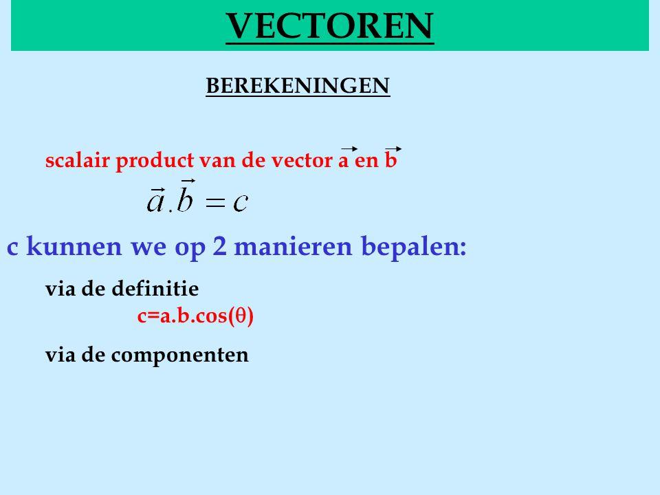 BEREKENINGENscalair VECTOREN scalair product van de vector a en b c kunnen we op 2 manieren bepalen: via de definitie c=a.b.cos(  ) via de componente