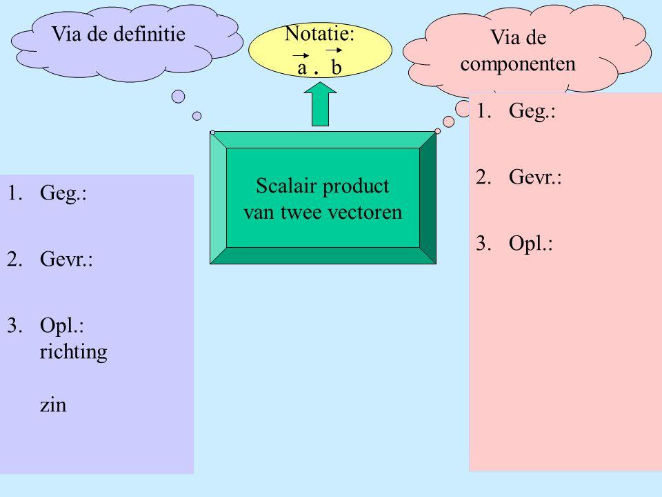 Scalair product van twee vectoren Via de definitie Via de componenten 1.Geg.: 2.Gevr.: 3.Opl.: 1.Geg.: 2.Gevr.: 3.Opl.: richting zin Notatie: a. b