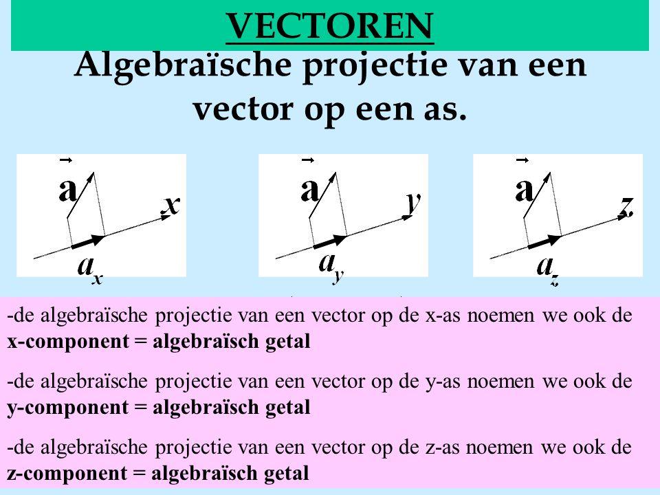 Algebraïsche projectie van een vector op een as. VECTOREN -de algebraïsche projectie van een vector op de x-as noemen we ook de x-component = algebraï