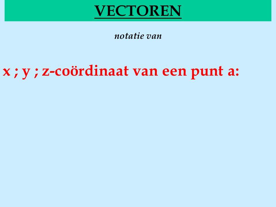 notatie van VECTOREN x ; y ; z-coördinaat van een punt a: