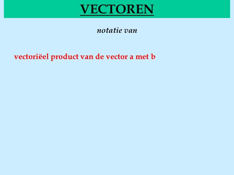 notatie van VECTOREN vectoriëel product van de vector a met b