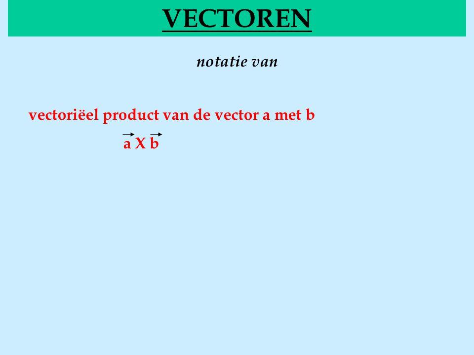notatie van VECTOREN vectoriëel product van de vector a met b a X b