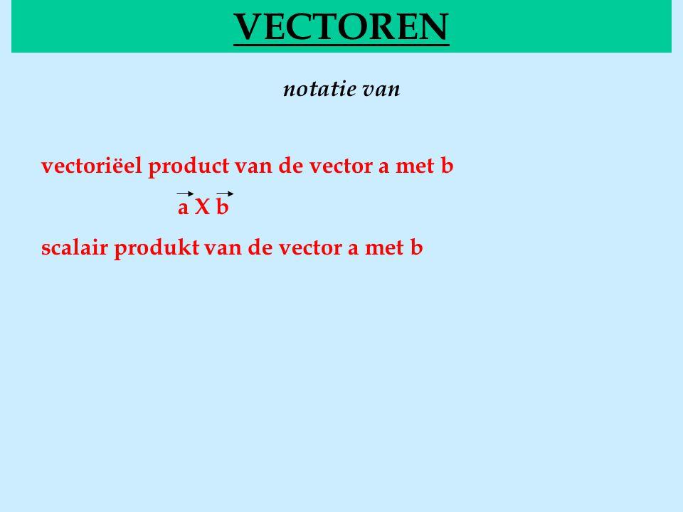 notatie van VECTOREN vectoriëel product van de vector a met b a X b scalair produkt van de vector a met b