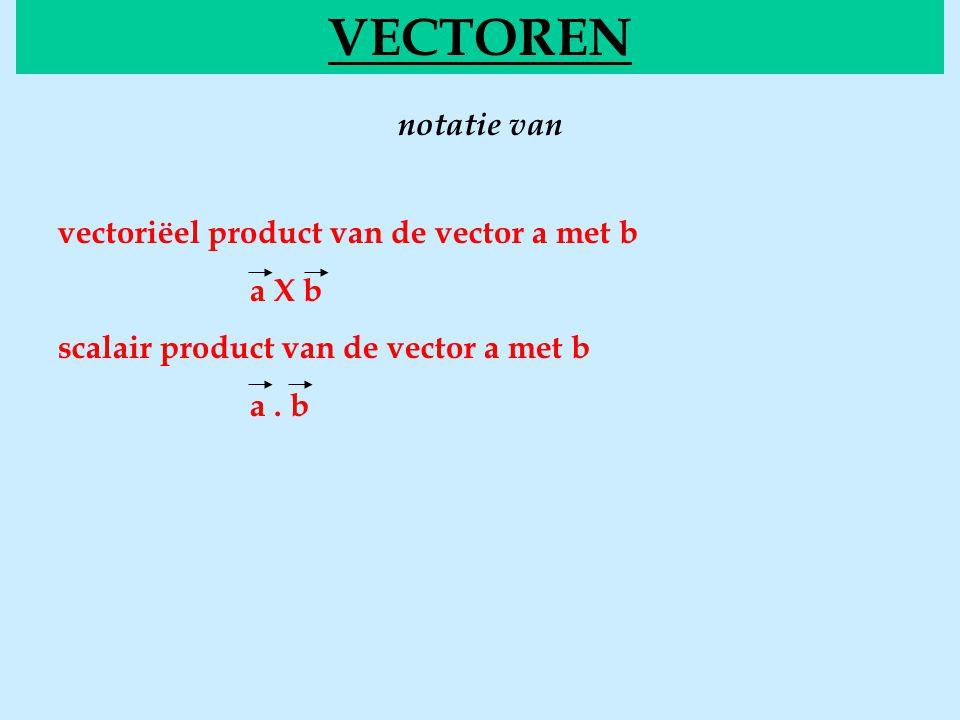 notatie van VECTOREN vectoriëel product van de vector a met b a X b scalair product van de vector a met b a. b