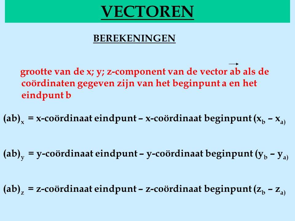 BEREKENINGEN comp VECTOREN grootte van de x; y; z-component van de vector ab als de coördinaten gegeven zijn van het beginpunt a en het eindpunt b (ab