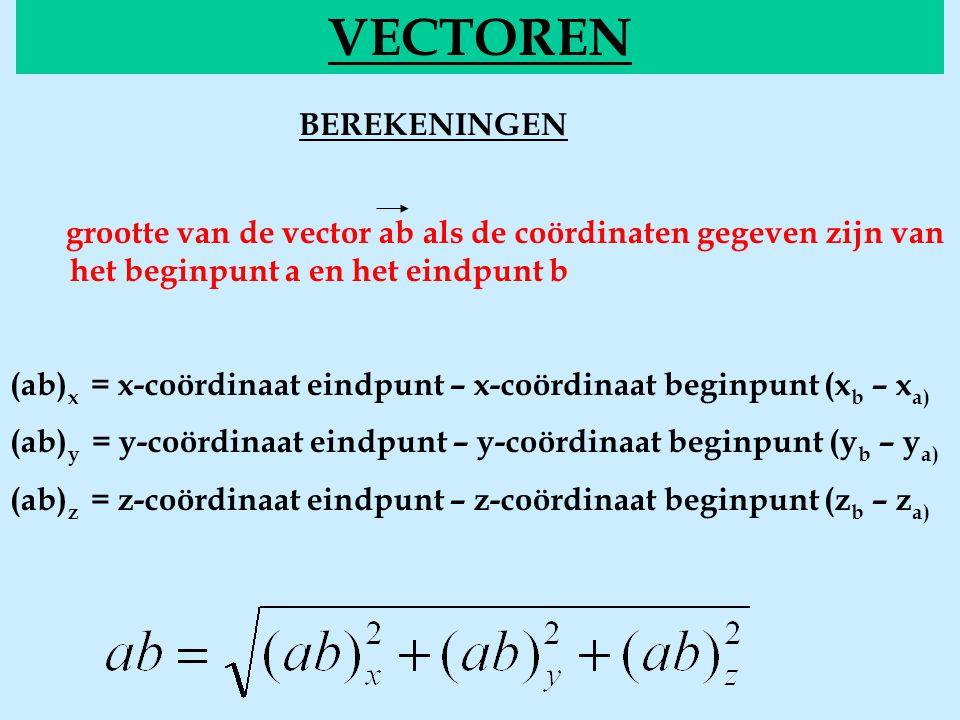 BEREKENINGEN groott VECTOREN  grootte van de vector ab als de coördinaten gegeven zijn van het beginpunt a en het eindpunt b (ab) x = x-coördinaat e