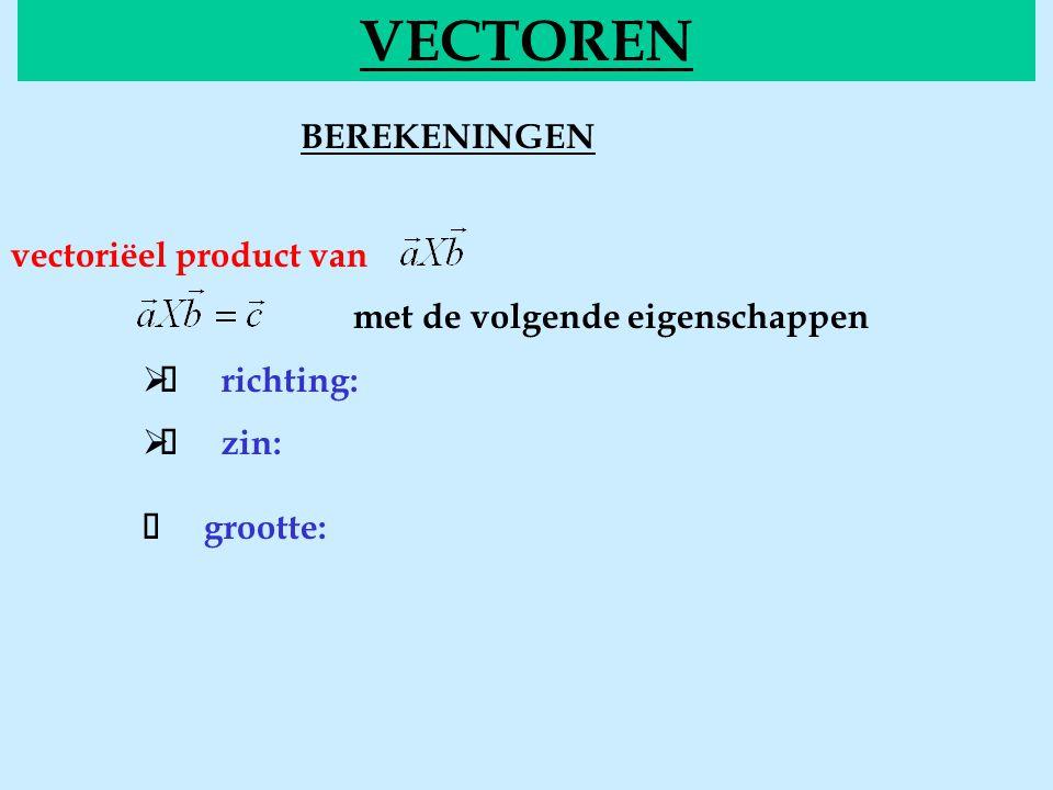 BEREKENINGENvectorieel VECTOREN vectoriëel product van met de volgende eigenschappen  richting:  zin:  grootte: