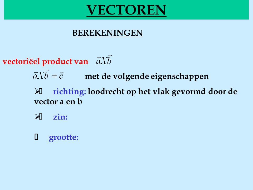 BEREKENINGENvectorieel VECTOREN vectoriëel product van met de volgende eigenschappen  richting: loodrecht op het vlak gevormd door de vector a en b