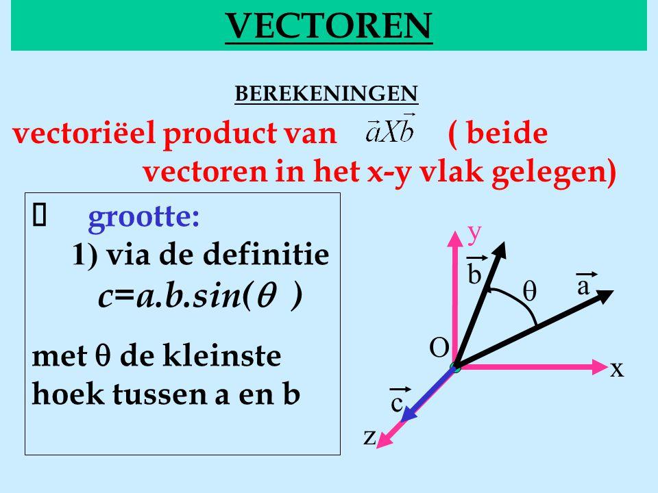 y b O x z a  VECTOREN BEREKENINGENvecgrootte vectoriëel product van ( beide vectoren in het x-y vlak gelegen)  grootte: 1) via de definitie c=a.b.si