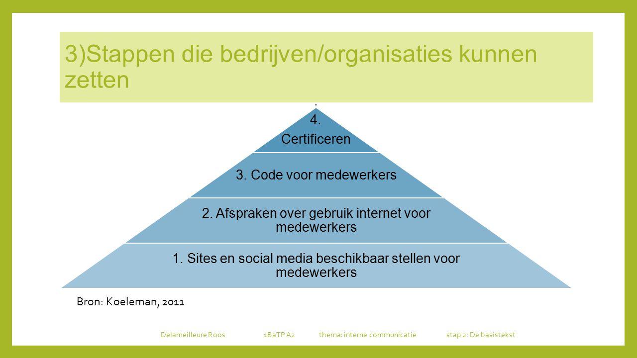 3)Stappen die bedrijven/organisaties kunnen zetten. 4. Certificeren 3. Code voor medewerkers 2. Afspraken over gebruik internet voor medewerkers 1. Si