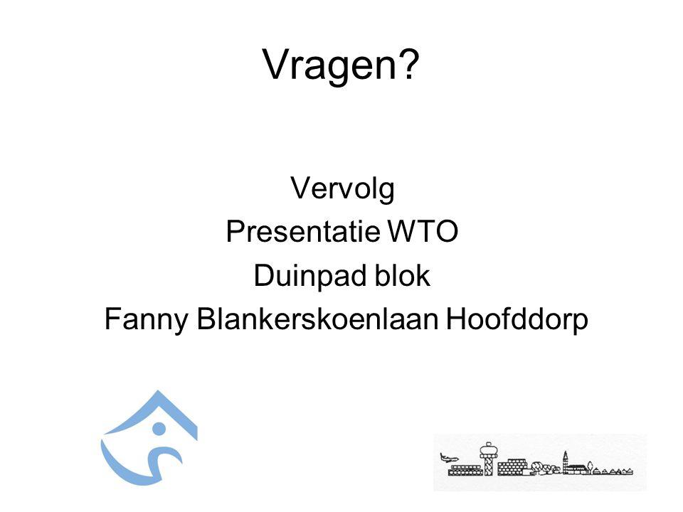 Vragen? Vervolg Presentatie WTO Duinpad blok Fanny Blankerskoenlaan Hoofddorp
