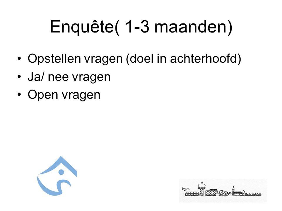 Enquête( 1-3 maanden) Opstellen vragen (doel in achterhoofd) Ja/ nee vragen Open vragen