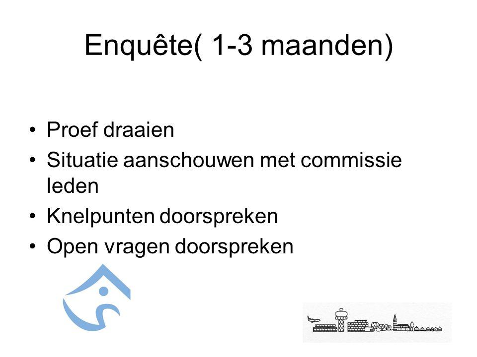 Enquête( 1-3 maanden) Proef draaien Situatie aanschouwen met commissie leden Knelpunten doorspreken Open vragen doorspreken