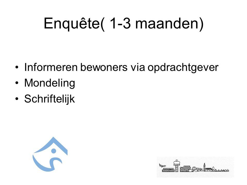 Enquête( 1-3 maanden) Informeren bewoners via opdrachtgever Mondeling Schriftelijk