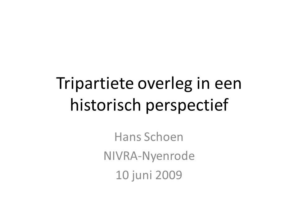 Tripartiete overleg in een historisch perspectief Hans Schoen NIVRA-Nyenrode 10 juni 2009