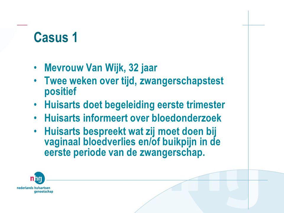 Casus 1 Mevrouw Van Wijk, 32 jaar Twee weken over tijd, zwangerschapstest positief Huisarts doet begeleiding eerste trimester Huisarts informeert over