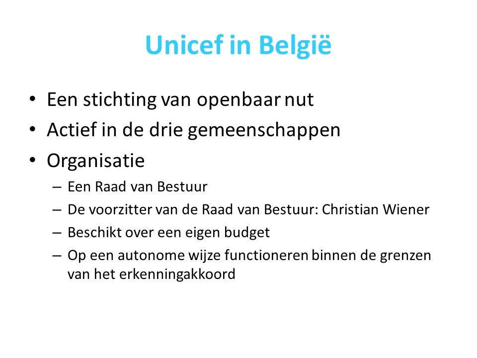 Unicef in België Een stichting van openbaar nut Actief in de drie gemeenschappen Organisatie – Een Raad van Bestuur – De voorzitter van de Raad van Bestuur: Christian Wiener – Beschikt over een eigen budget – Op een autonome wijze functioneren binnen de grenzen van het erkenningakkoord