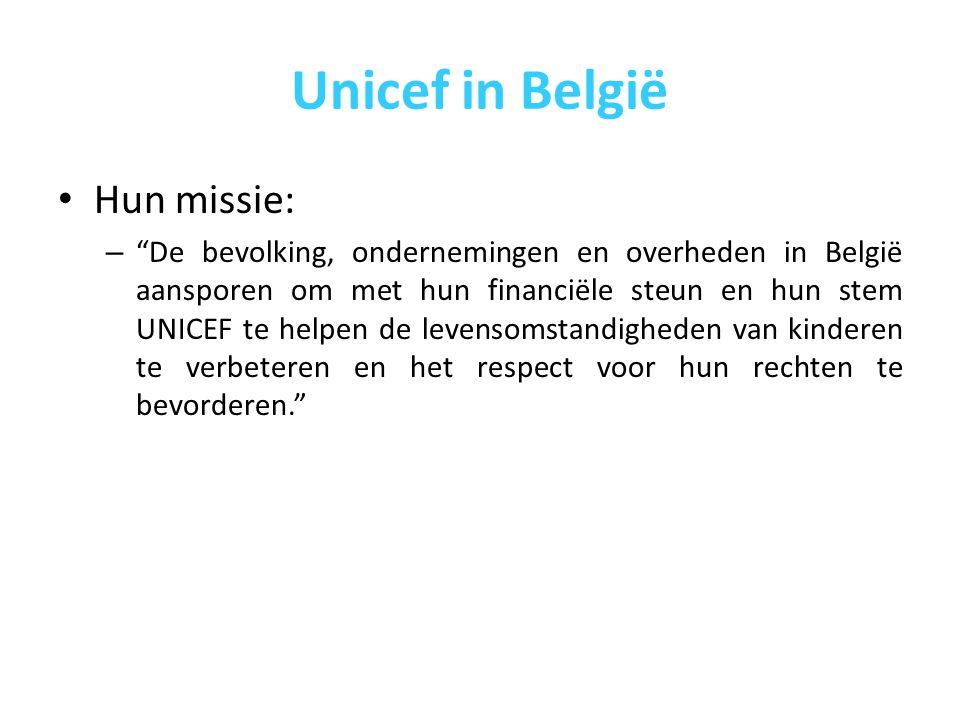 Unicef in België Om de missie te vervullen: – UNICEF België werft fondsen – UNICEF België doet aan pleidooiwerk voor de kinderrechten – UNICEF België informeert het brede publiek over de situatie van vrouwen en kinderen die in ontwikkelingslanden leven