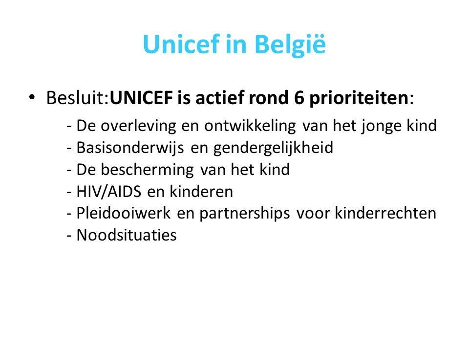 Unicef in België Besluit:UNICEF is actief rond 6 prioriteiten: - De overleving en ontwikkeling van het jonge kind - Basisonderwijs en gendergelijkheid - De bescherming van het kind - HIV/AIDS en kinderen - Pleidooiwerk en partnerships voor kinderrechten - Noodsituaties