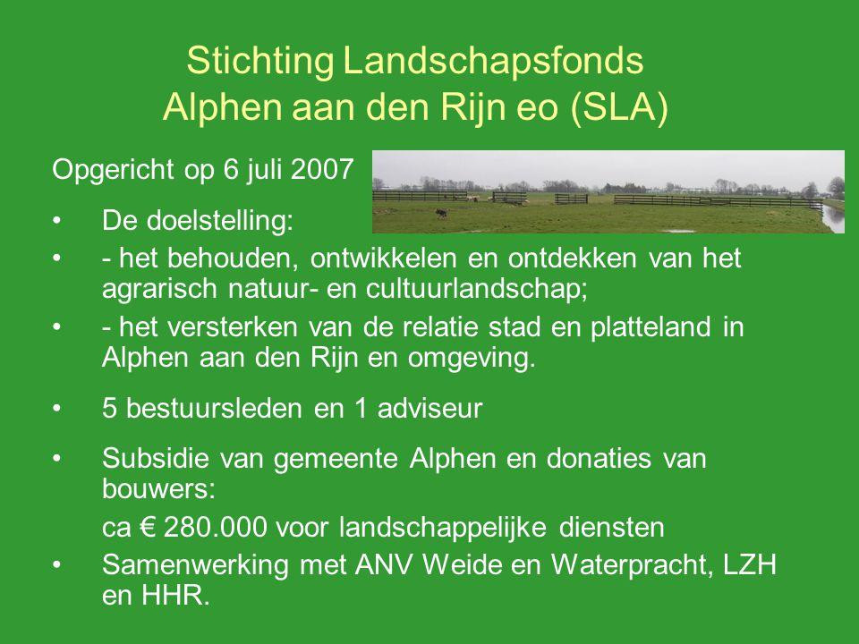 Stichting Landschapsfonds Alphen aan den Rijn eo (SLA) Opgericht op 6 juli 2007 De doelstelling: - het behouden, ontwikkelen en ontdekken van het agrarisch natuur- en cultuurlandschap; - het versterken van de relatie stad en platteland in Alphen aan den Rijn en omgeving.