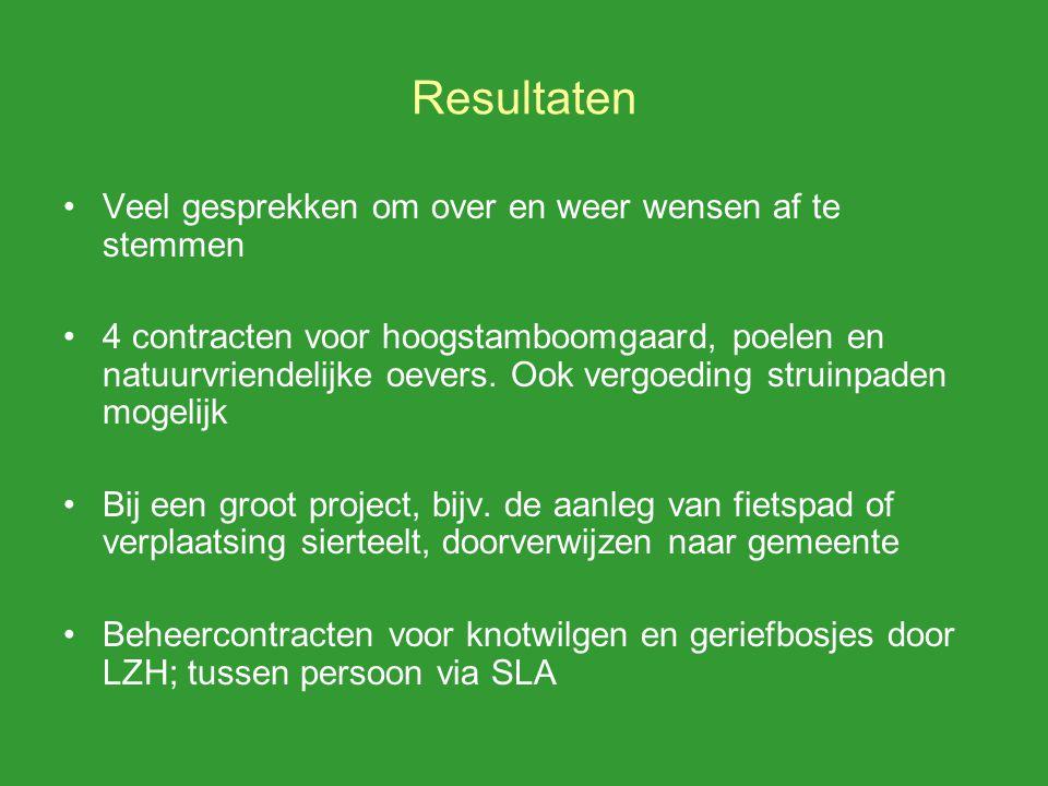 Resultaten Veel gesprekken om over en weer wensen af te stemmen 4 contracten voor hoogstamboomgaard, poelen en natuurvriendelijke oevers.