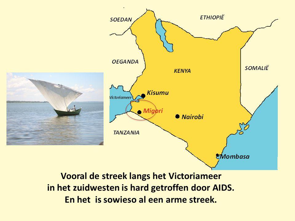 Vooral de streek langs het Victoriameer in het zuidwesten is hard getroffen door AIDS. En het is sowieso al een arme streek.