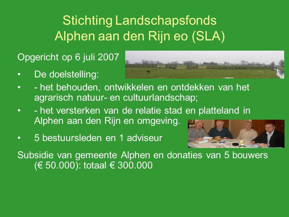 Stichting Landschapsfonds Alphen aan den Rijn eo (SLA) Opgericht op verzoek van gemeente Natuurontwikkeling in Zaans Rietveld afronden Jaarlijks verslag en verantwoording wethouder Deel uitvoering Structuurvisie Buitengebied Samenwerking met coordinator landschapsonwikkelingsplan