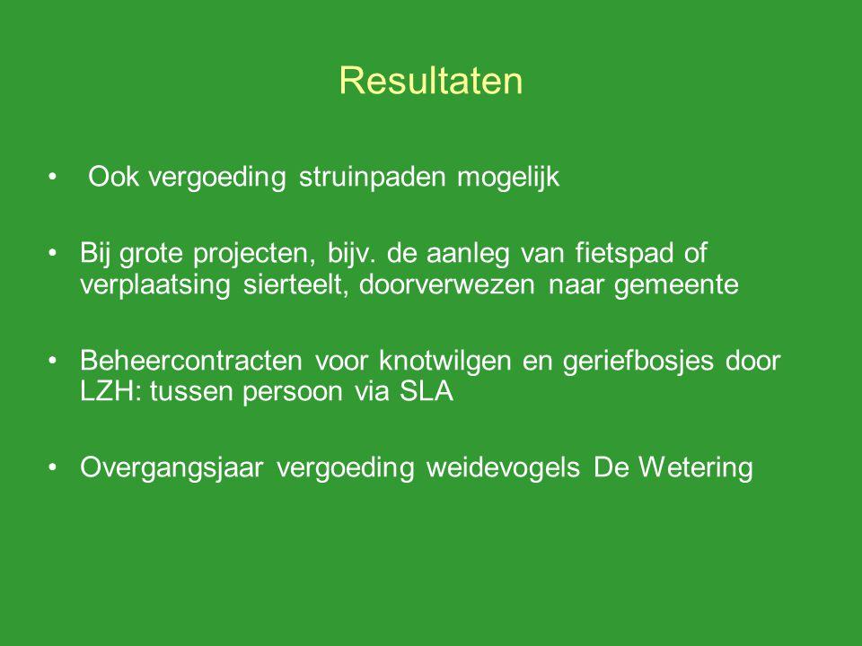 Resultaten Ook vergoeding struinpaden mogelijk Bij grote projecten, bijv.