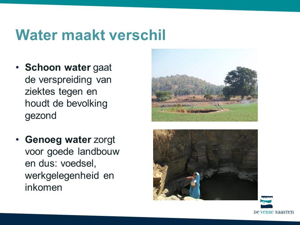 Water maakt verschil Schoon water gaat de verspreiding van ziektes tegen en houdt de bevolking gezond Genoeg water zorgt voor goede landbouw en dus: voedsel, werkgelegenheid en inkomen
