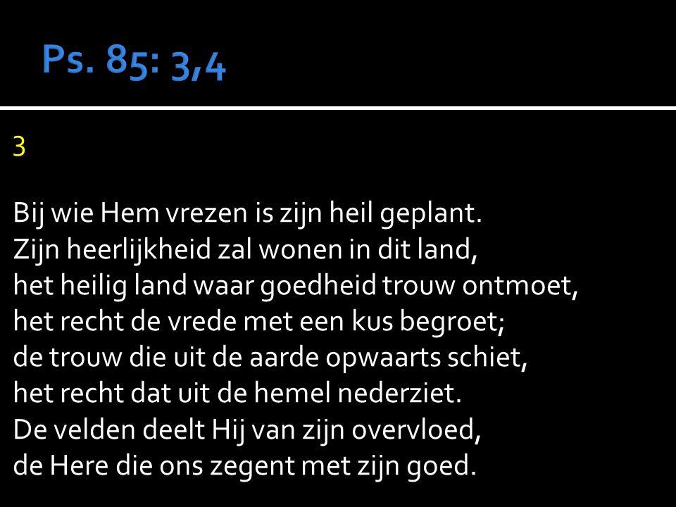 3 Bij wie Hem vrezen is zijn heil geplant.