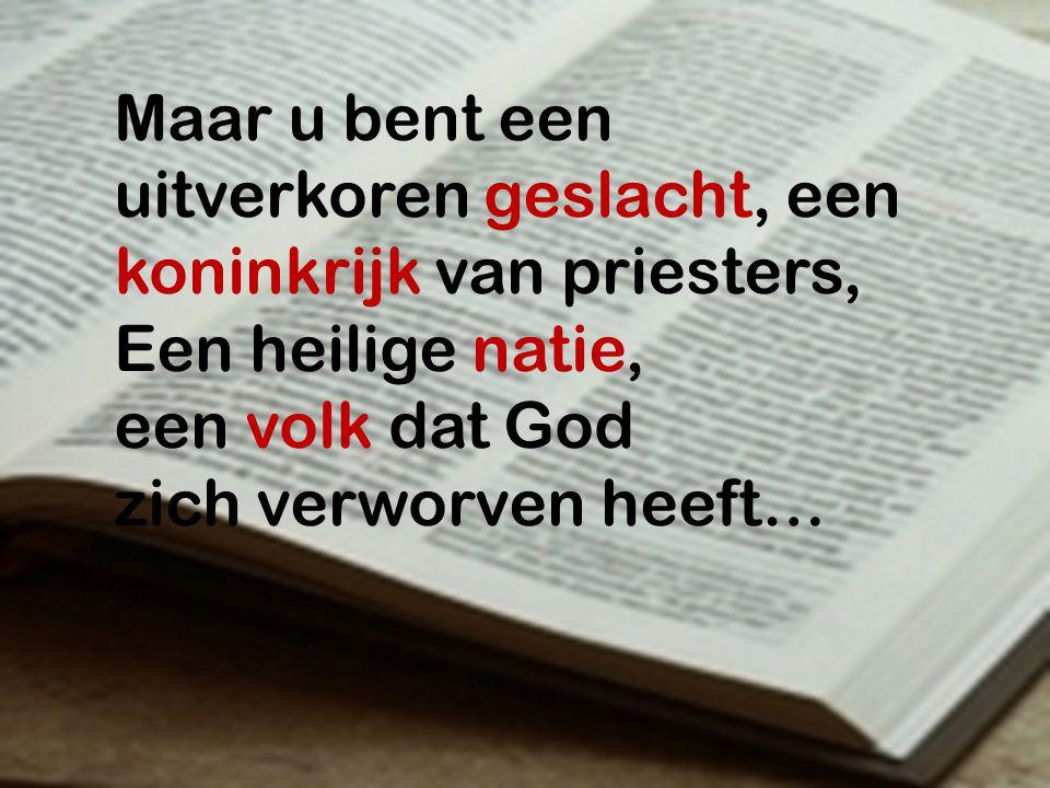 Maar u bent een uitverkoren geslacht, een koninkrijk van priesters, Een heilige natie, een volk dat God zich verworven heeft…