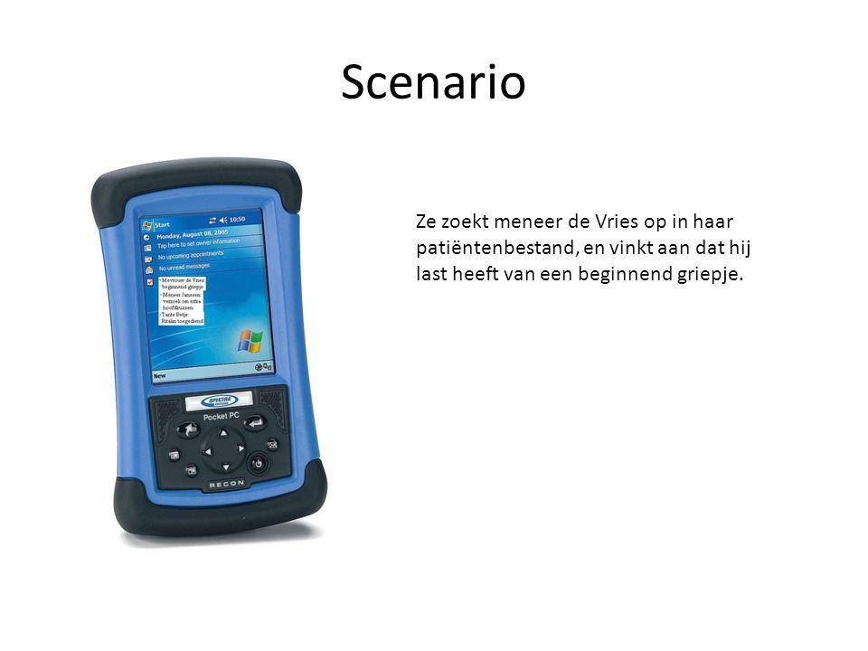 Scenario De centrale server registreert dat de zuster een verandering in de gezondheidstoestand van meneer de Vries heeft aangegeven.