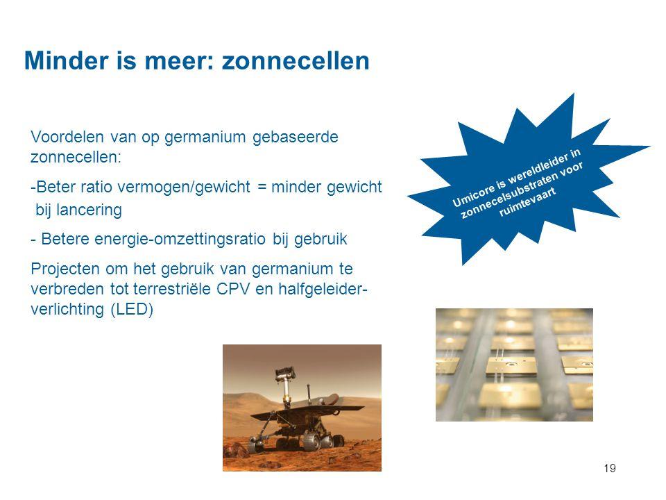 19 Minder is meer: zonnecellen Umicore is wereldleider in zonnecelsubstraten voor ruimtevaart Voordelen van op germanium gebaseerde zonnecellen: -Bete