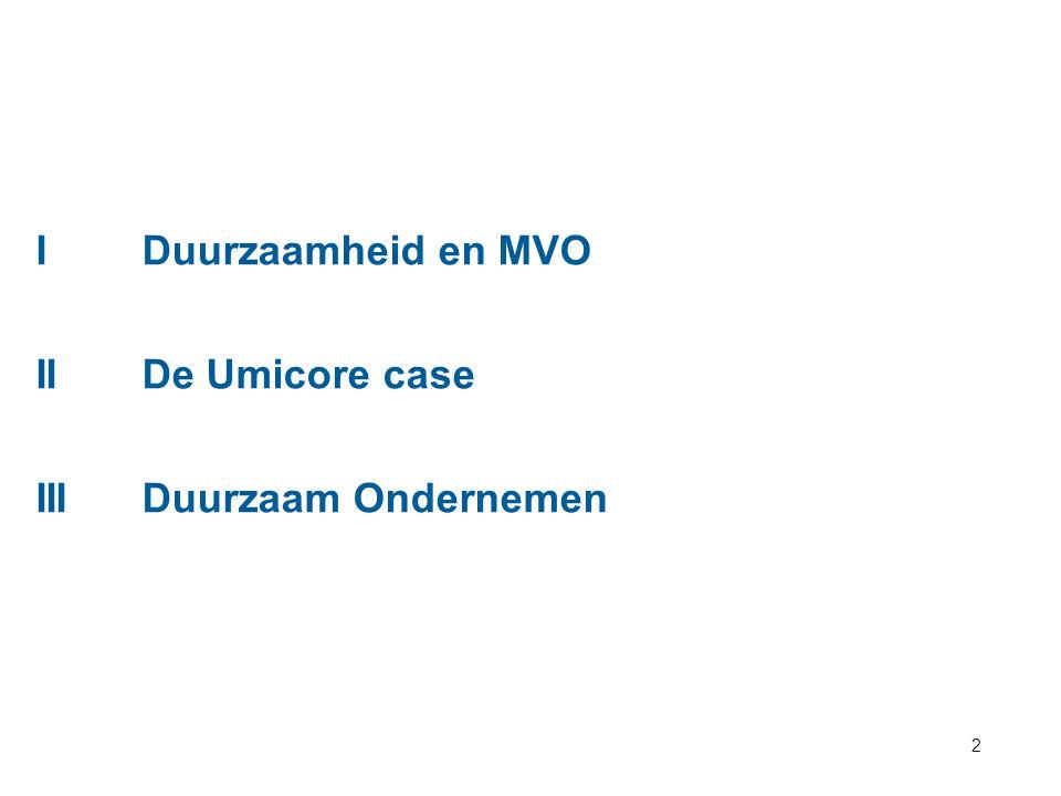 2 IDuurzaamheid en MVO IIDe Umicore case IIIDuurzaam Ondernemen