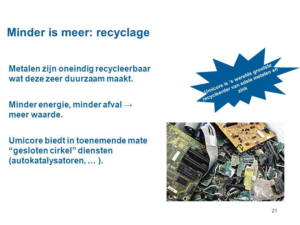 21 Minder is meer: recyclage Metalen zijn oneindig recycleerbaar wat deze zeer duurzaam maakt. Minder energie, minder afval → meer waarde. Umicore bie