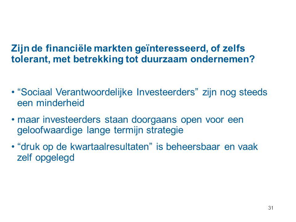 """31 Zijn de financiële markten geïnteresseerd, of zelfs tolerant, met betrekking tot duurzaam ondernemen? """"Sociaal Verantwoordelijke Investeerders"""" zij"""