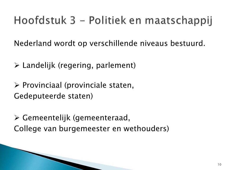 10 Nederland wordt op verschillende niveaus bestuurd.