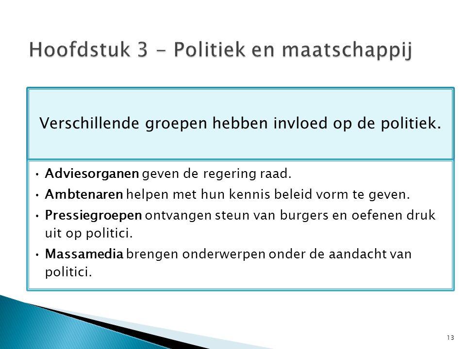 13 Verschillende groepen hebben invloed op de politiek.