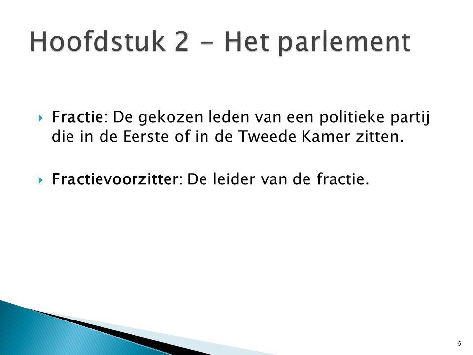  Fractie: De gekozen leden van een politieke partij die in de Eerste of in de Tweede Kamer zitten.