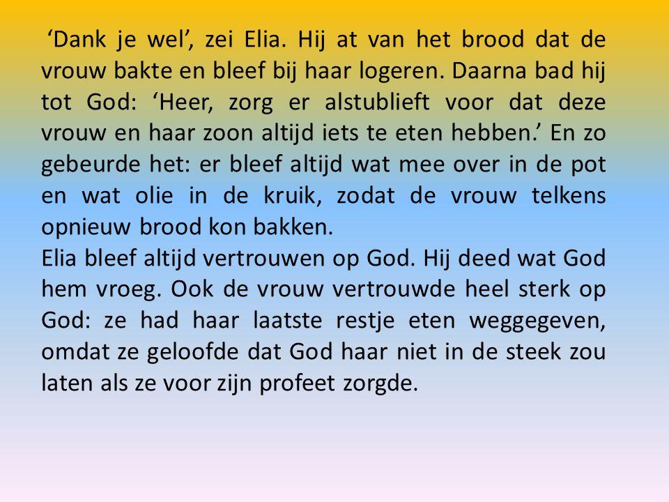 'Dank je wel', zei Elia. Hij at van het brood dat de vrouw bakte en bleef bij haar logeren. Daarna bad hij tot God: 'Heer, zorg er alstublieft voor da