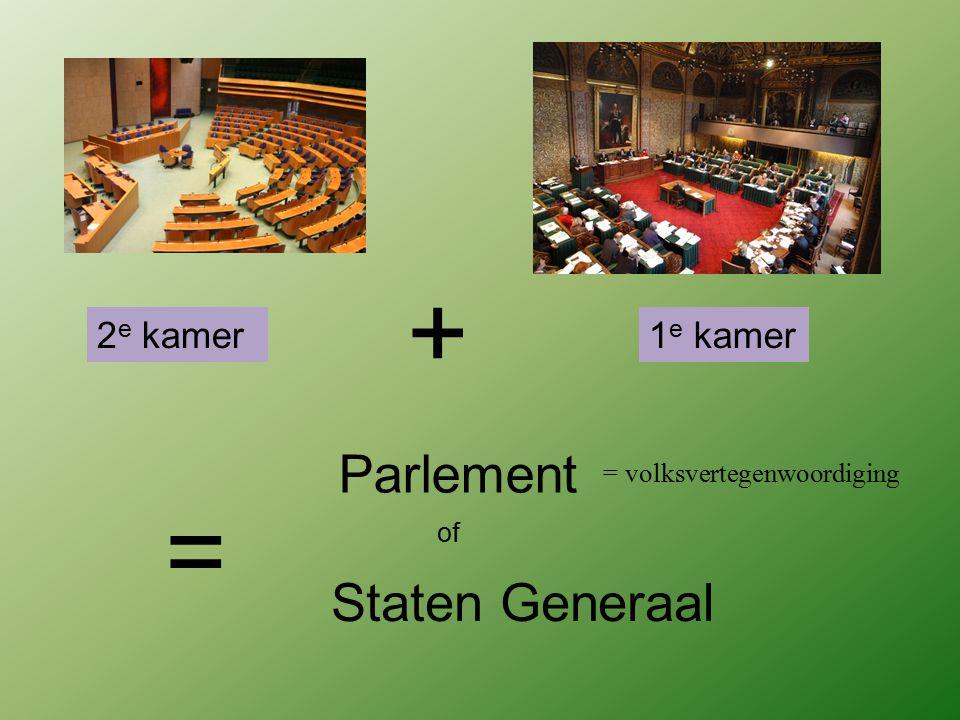 2 e kamer + 1 e kamer = Parlement of = volksvertegenwoordiging Staten Generaal