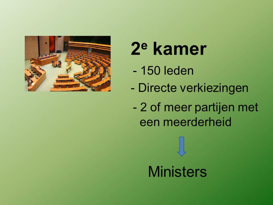 2 e kamer - 150 leden - Directe verkiezingen - 2 of meer partijen met een meerderheid Ministers