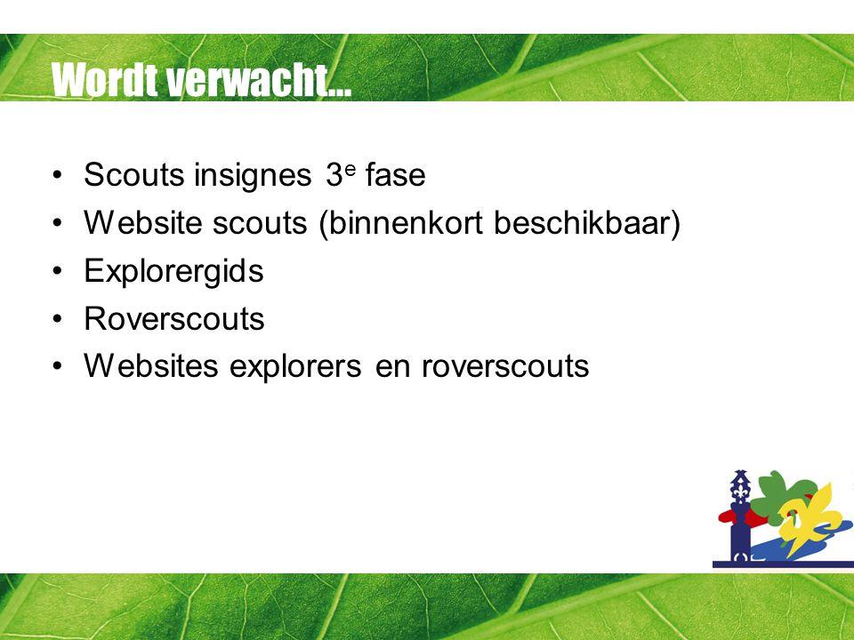 Wordt verwacht... Scouts insignes 3 e fase Website scouts (binnenkort beschikbaar) Explorergids Roverscouts Websites explorers en roverscouts
