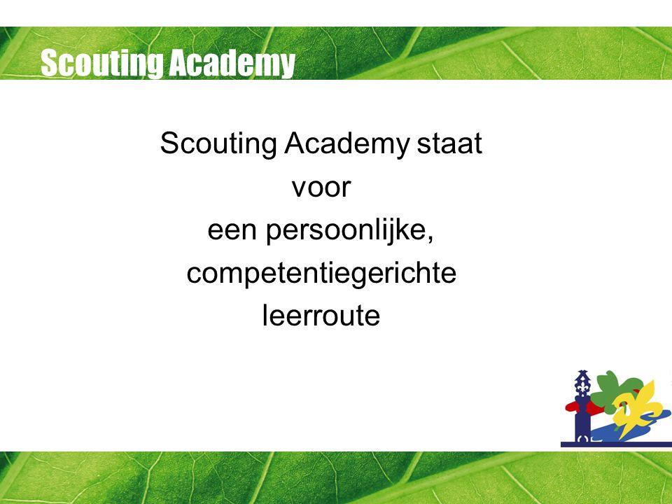 Scouting Academy competenties Het ontwikkelen van competenties: -Onder begeleiding van de praktijkbegeleider -Manier van ontwikkelen: in de praktijk via handboeken volgen van een workshop of training een combinatie van deze (e-learning)