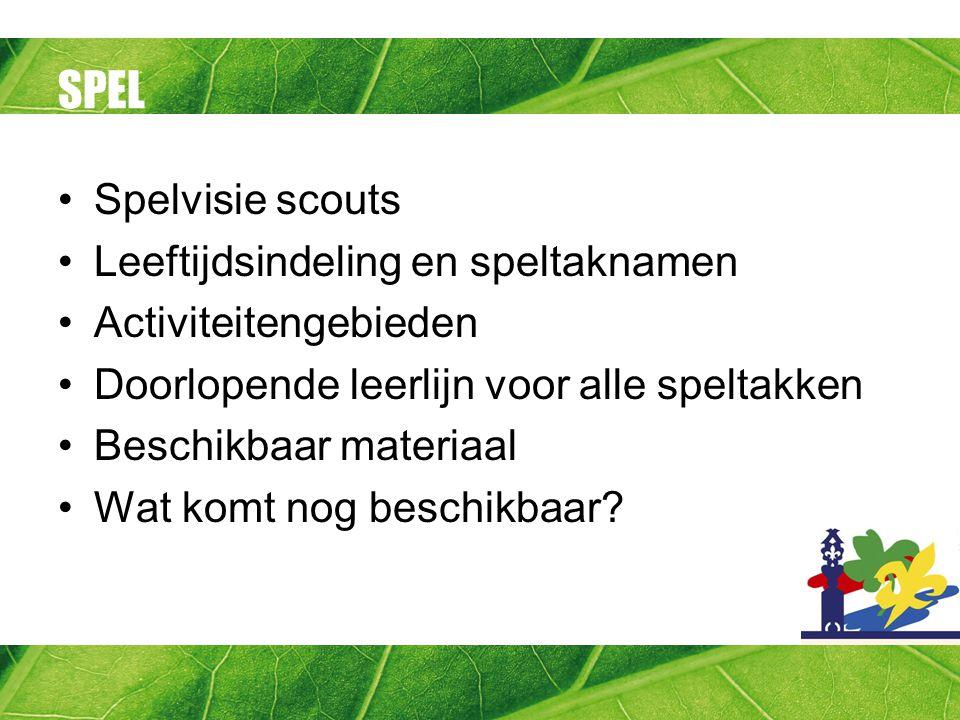 SPEL Spelvisie scouts Leeftijdsindeling en speltaknamen Activiteitengebieden Doorlopende leerlijn voor alle speltakken Beschikbaar materiaal Wat komt