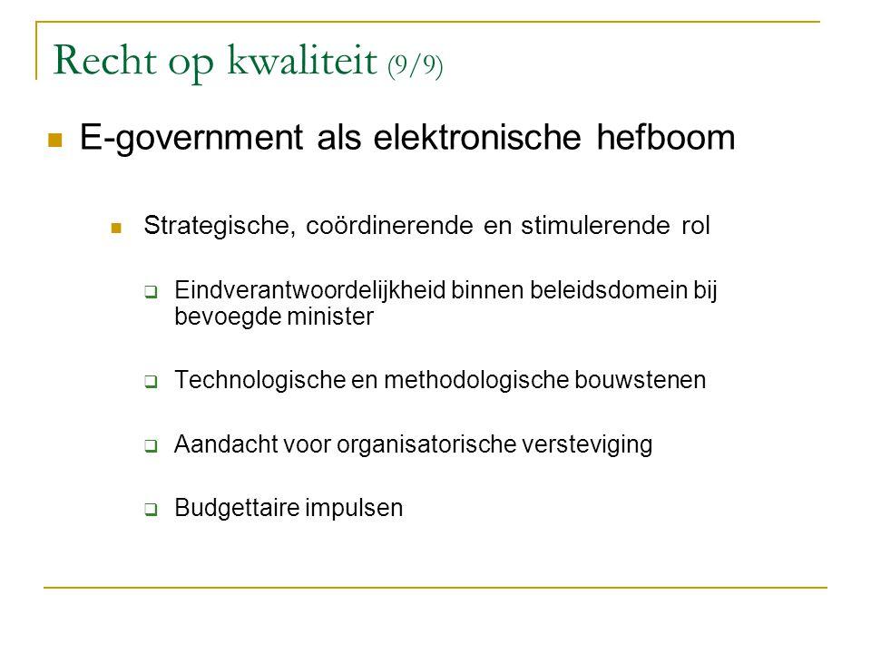 Recht op kwaliteit (9/9) E-government als elektronische hefboom Strategische, coördinerende en stimulerende rol  Eindverantwoordelijkheid binnen bele