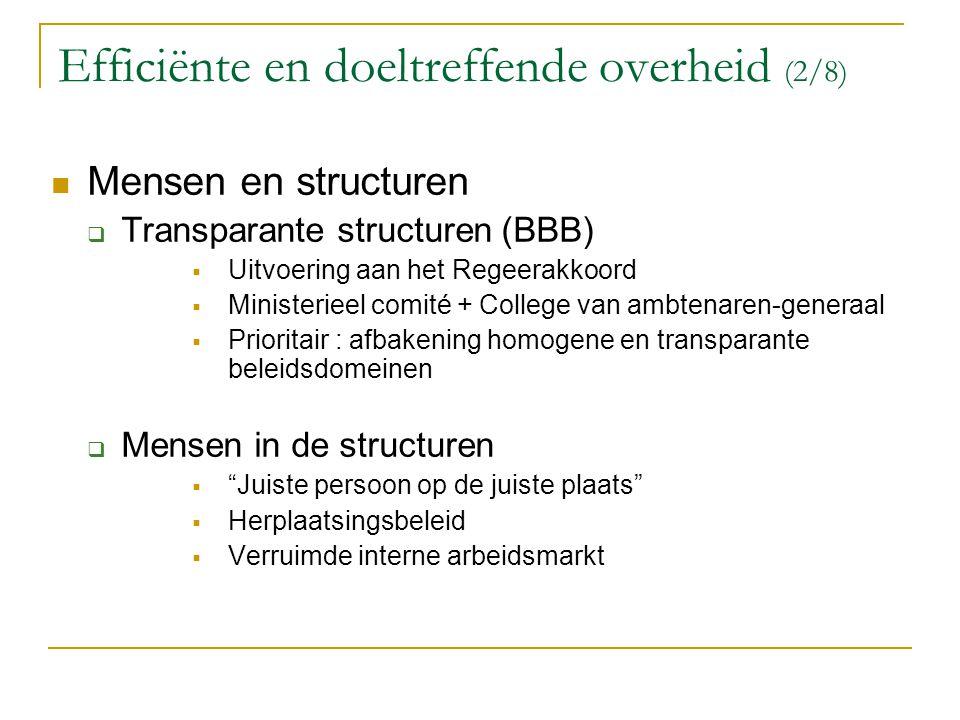 Efficiënte en doeltreffende overheid (2/8) Mensen en structuren  Transparante structuren (BBB)  Uitvoering aan het Regeerakkoord  Ministerieel comi